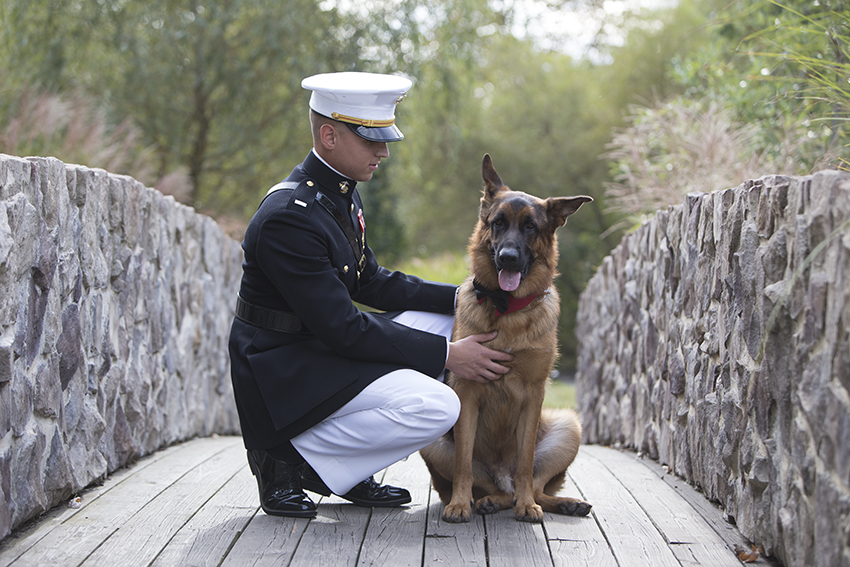 marine with his dog